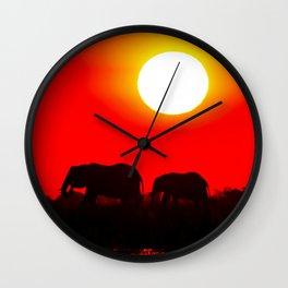 Elephant evening - Africa wildlife Wall Clock