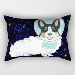 Corgi spacedog astronaut outer space tricolored corgis dog portrait gifts Rectangular Pillow