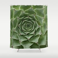 succulent Shower Curtains featuring Succulent by Bunyip Designs