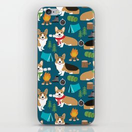 Corgi camping marshmallow roasting corgis outdoors nature dog lovers iPhone Skin