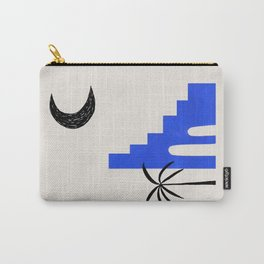 Ultramarine Blue Minimalist Modern Mid Century Ancient Ruins Architecture Moon Lit Palm Trees by Ejaaz Haniff Carry-All Pouch