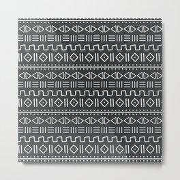 mudcloth white on charcoal Metal Print