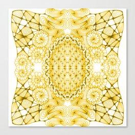 Yellow Zentangle Tile Doodle Design Canvas Print