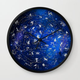 Northern Sky Constellations Map Wall Clock