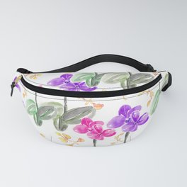 Colorful pinky purple orchids pattern design Fanny Pack
