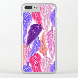 Watercolor Macrame Feather Toss in White + Purple Pink Clear iPhone Case