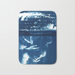 Fragments of the Past (12), art print, collage, blue print, wall art, wall decor, home decor Bath Mat