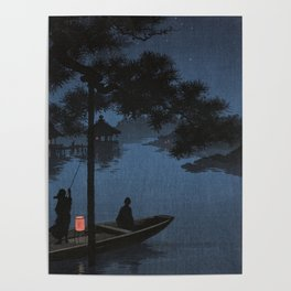 Boat with Lantern Beneath Shubi Pine Poster
