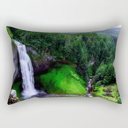 Nature Landscape Photogrsphy of waterfall into the woods Rectangular Pillow