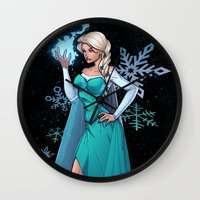 frozen elsa Wall Clocks featuring Frozen - Elsa by J Skipper