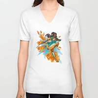 magical girl V-neck T-shirts featuring Magical Girl Gladiolus by Anna Landin