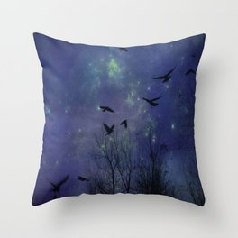 Celestial Night Of Crows Throw Pillow