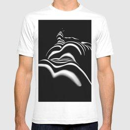 8903-SLG Sensual Nude Woman Back Shoulders Butt Erotic Curves Black & White Zebra Stripes T-shirt