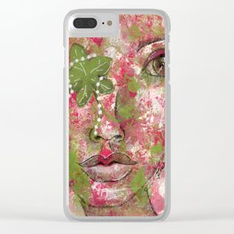 Come Thru Pink and Green Clear iPhone Case
