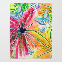 Rainbow Palm Print with Blue Butterflies Poster