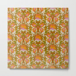 Orange, Pink Flowers and Green Leaves 1960s Retro Vintage Pattern Metal Print