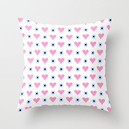 heart and star 4 - blue star and pink heart Throw Pillow