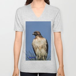 Red-Tailed Hawk on Watch at Foothill and B Street Unisex V-Neck