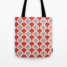 Classic Fan or Scallop Pattern 417 Gray and Red Tote Bag