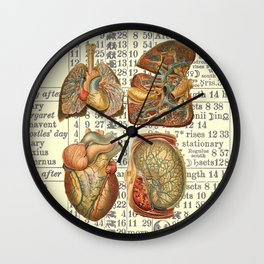 Beautiful Body Parts on Vintage Farmers Almanac page Wall Clock