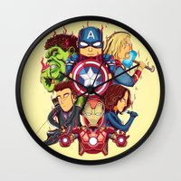 avenger Wall Clocks featuring The Avenger by rendhy wahyu