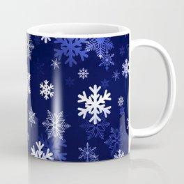 Dark Blue Snowflakes Coffee Mug