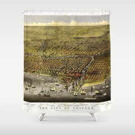 The City of Chicago, Illinois by Currier & Ives (1874) Shower Curtain