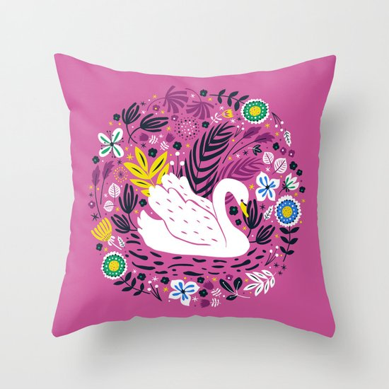 Delightful Swan Throw Pillow