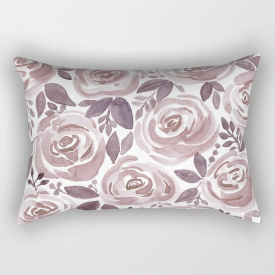 Watercolor brown roses on a white background . Rectangular Pillow