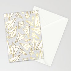 Paper Airplanes Faux Gold on Grey Stationery Cards