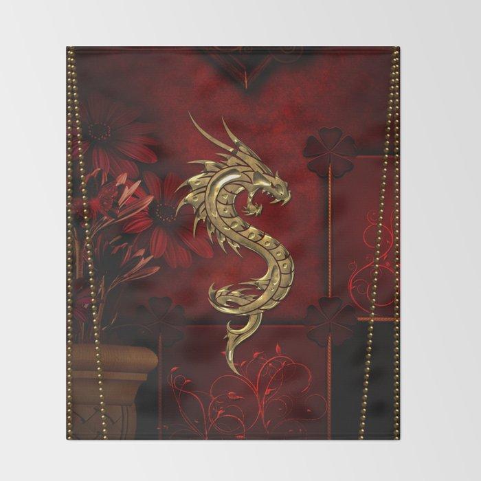 Wonderful golden chinese dragon Throw Blanket
