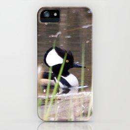 Hooded Merganser Swims iPhone Case