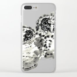 Two owl chicks sumie ink painting Clear iPhone Case
