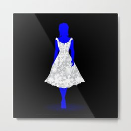 Snow Queen On Black Metal Print
