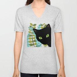 Black Kitty Cat In The Garden Unisex V-Neck