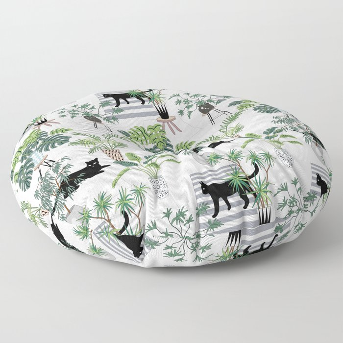 cats in the interior pattern Floor Pillow