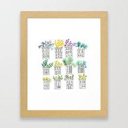 Row House Planters Framed Art Print