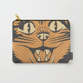 Spooky Vintage Halloween Feline Cat Face Carry-All Pouch
