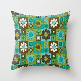 Flower power retro design Throw Pillow