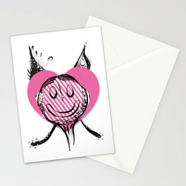 Happy face - emoji icon used to express love and happiness. Stationery Cards