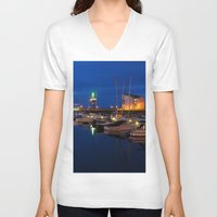 marina V-neck T-shirts featuring Ardrossan Marina by Paul & Fe Photography
