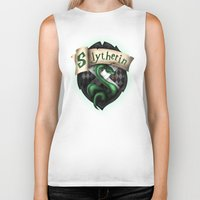 slytherin Biker Tanks featuring Slytherin Crest by Sharayah Mitchell