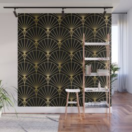 Black and gold art-deco geometric pattern Wall Mural