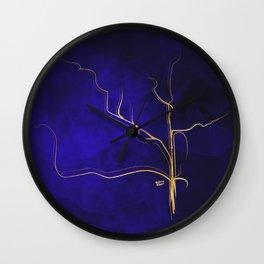 Kintsugi Gold Royal Blue Watercolor Wall Clock