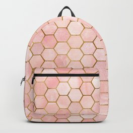 Pink and Gold Geometric Pattern Backpack