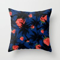 strawberry Throw Pillows featuring strawberry  by mark ashkenazi