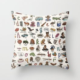 The Australian Alphabet Throw Pillow