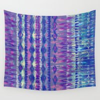 ikat Wall Tapestries featuring Ikat #8f by Schatzi Brown