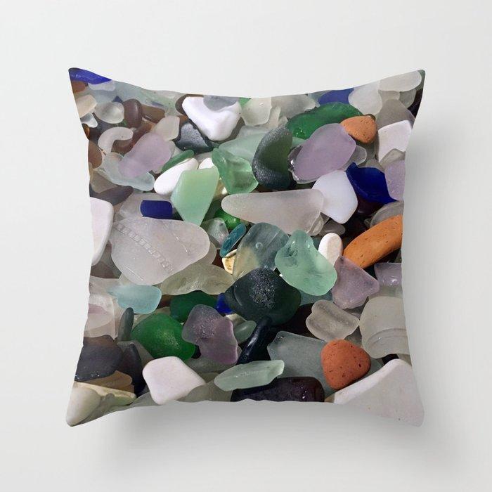 Sea Glass Assortment 6 Throw Pillow