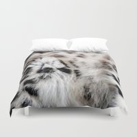 snow leopard Duvet Covers featuring Snow Leopard by Moody Muse
